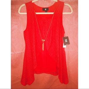 New iZ Byer Red Blouse w/Gold Statement Necklace